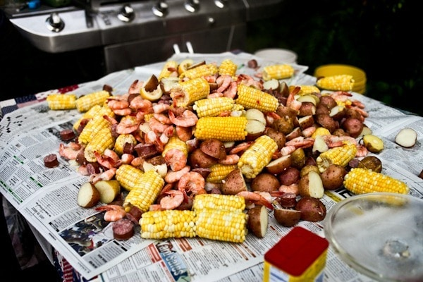 low country boil spread on table