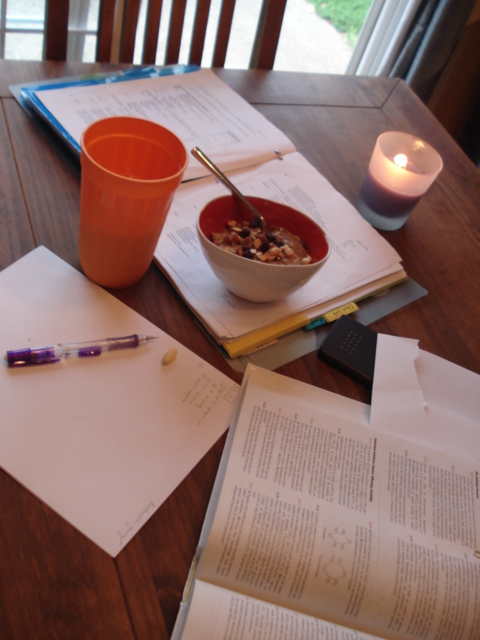 Organic chemistry studying with breakfast