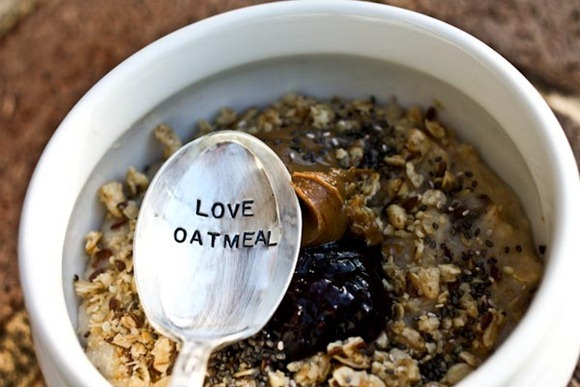 love oatmeal spoon and oatmeal bowl