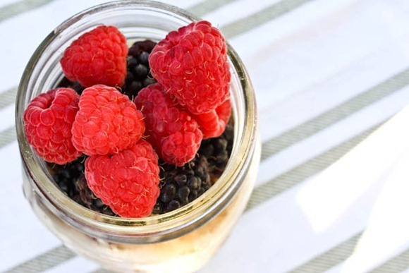 fresh berries in a jar