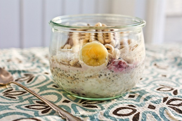Trapped Banana in an overnight oats bowl