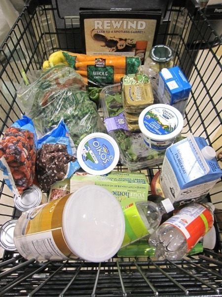 grocery cart of real foods