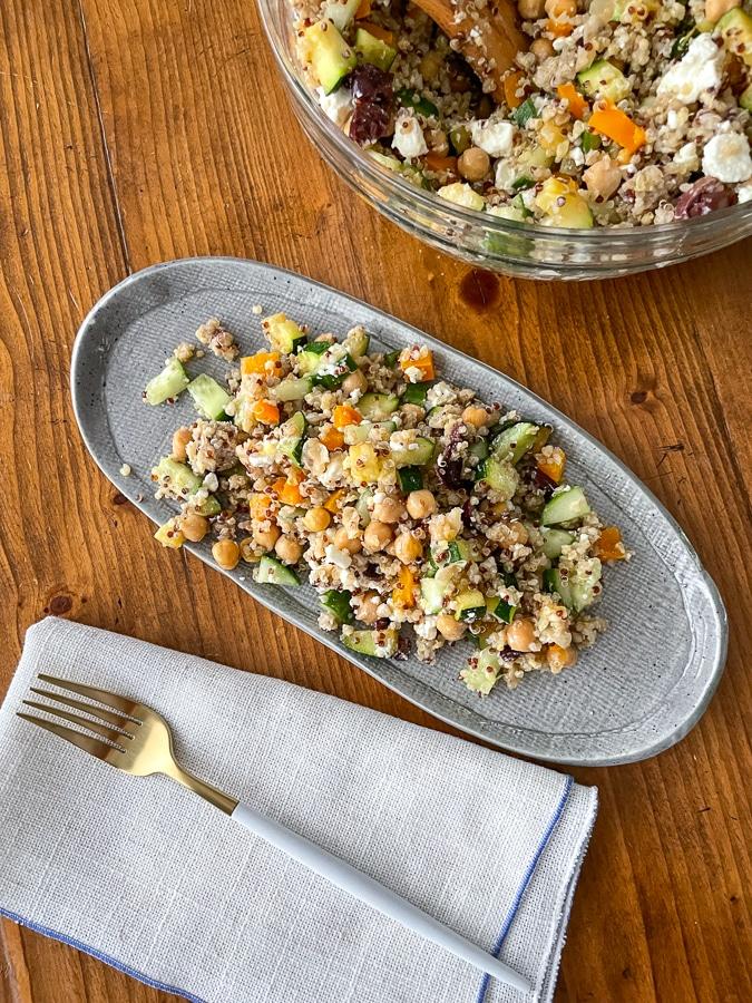 Greek Millet Salad on a plate