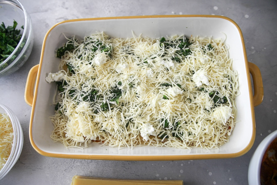 cheese and goat cheese layers of casserole