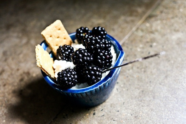 Cottage cheese and blackberries