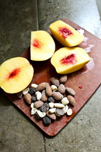 Peach and trail mix