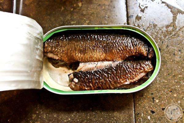 open tin of sardines
