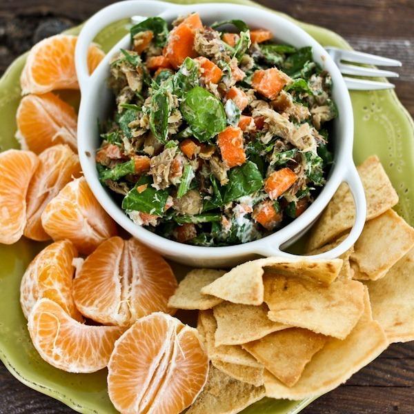 sardine salad with greens and pita chips