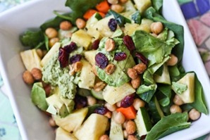 Salads with greens and nuts