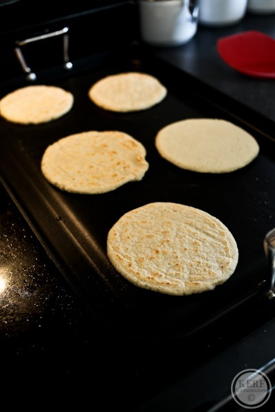hand made tortillas cooking for Salvadoran Breakfast