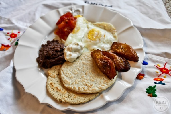 Salvadoran Breakfast plate with eggs and plantains