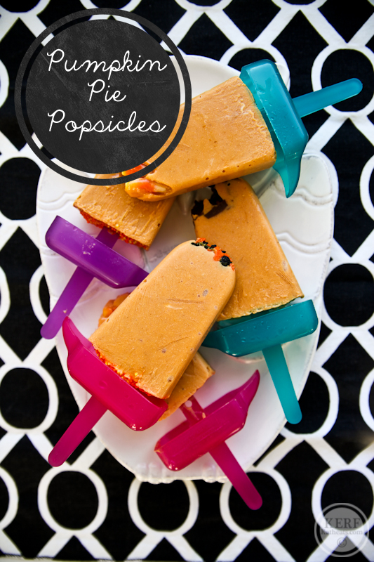 Pumpkin Pie Popsicles with candy surprise
