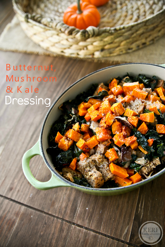 Butternut, Mushroom and Kale Dressing