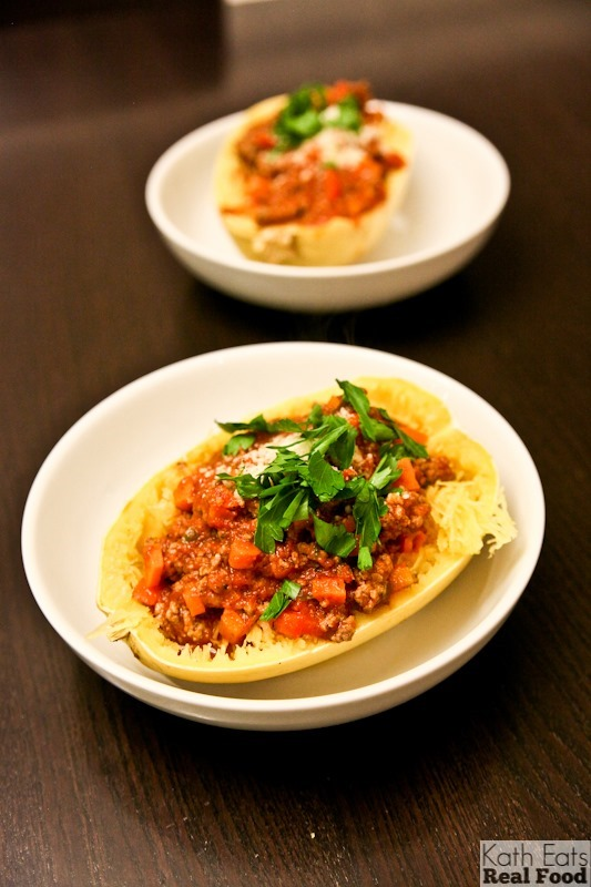 Easy Spaghetti Squash Bolognese Kath Eats Real Food