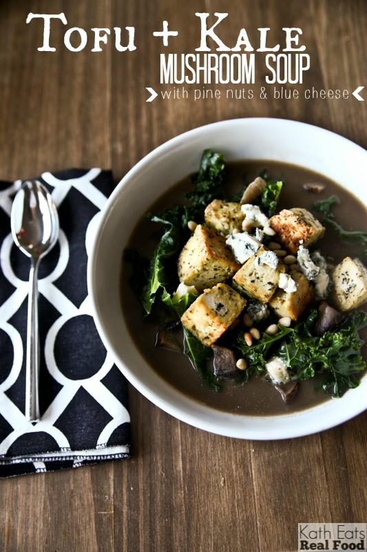 Tofu, Kale and Mushroom Soup