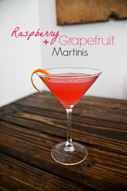 Raspberry and Grapefruit Martinis
