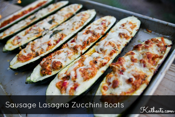 Sausage Lasagna Zucchini Boats