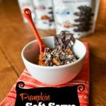 pumpkin soft serve ice cream graphic with chocolate