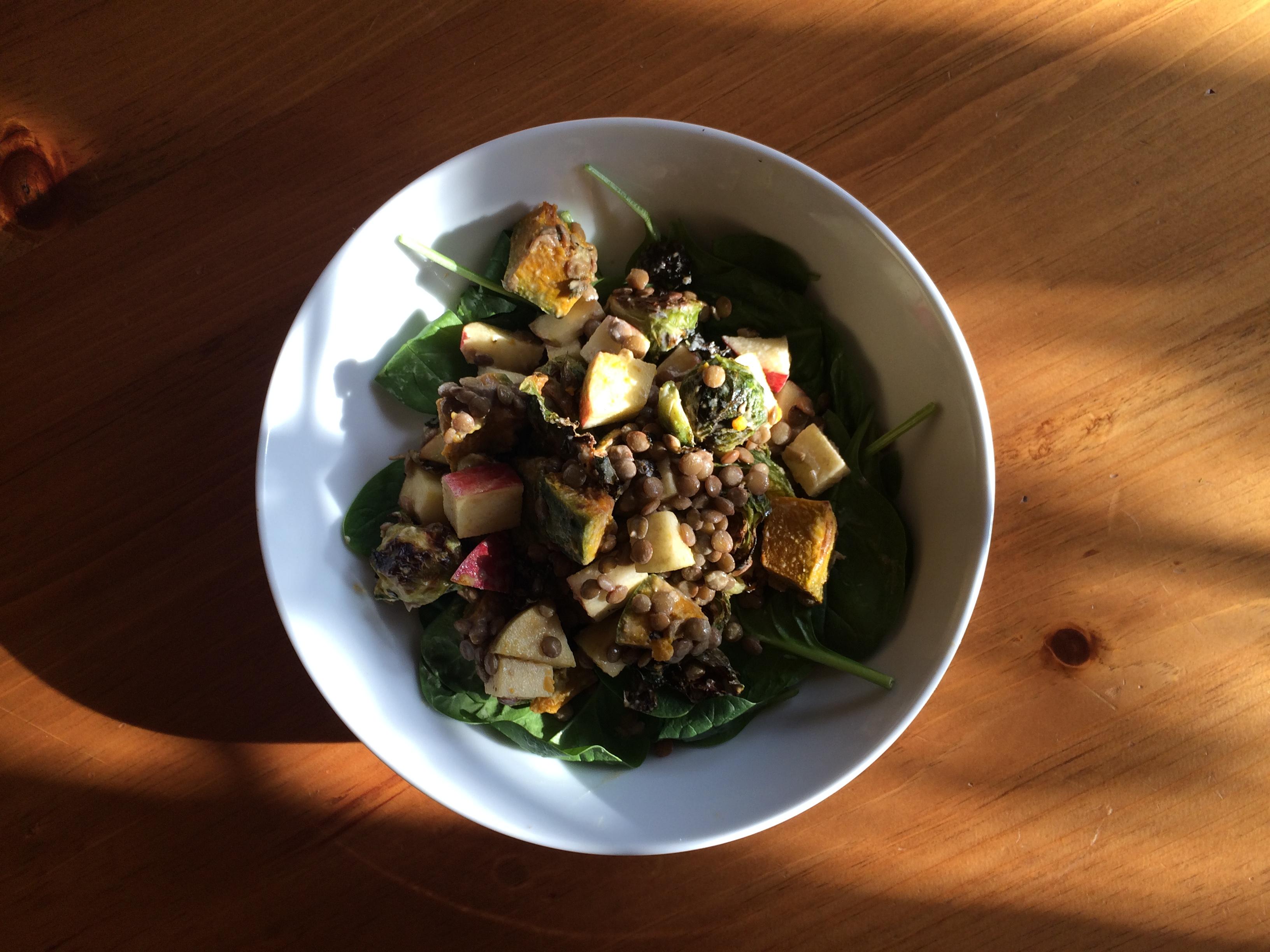 Autumn Salad with Pumpkin Spice Tahini Dressing