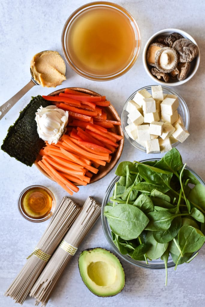 ingredients for miso noodle soup