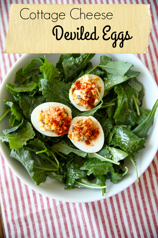 Cottage Cheese Deviled Eggs // Katheats.com