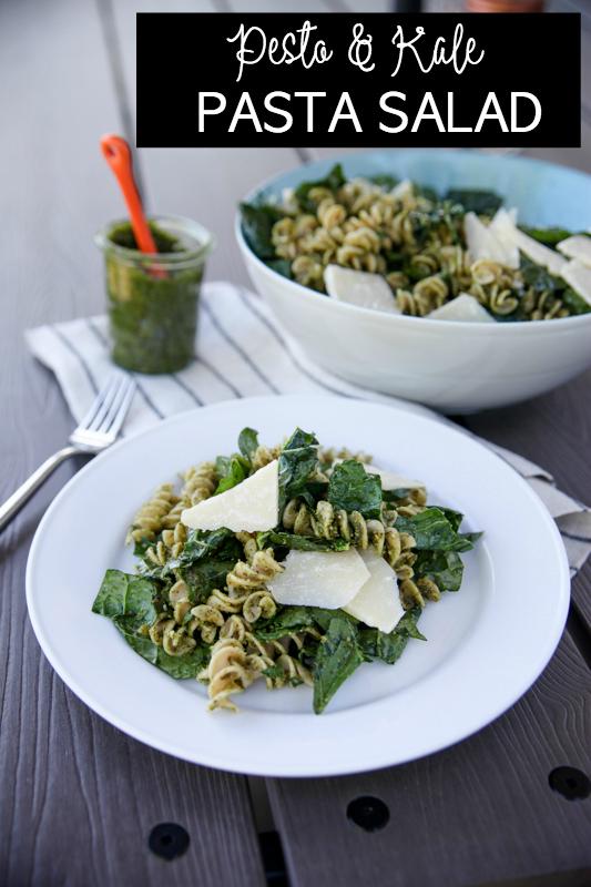 Pesto and Kale pasta salad