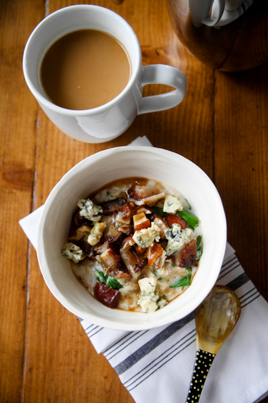 Savory oatmeal with bacon and blue cheese and coffee