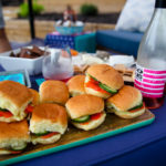 smoked salmon sliders with flag wine