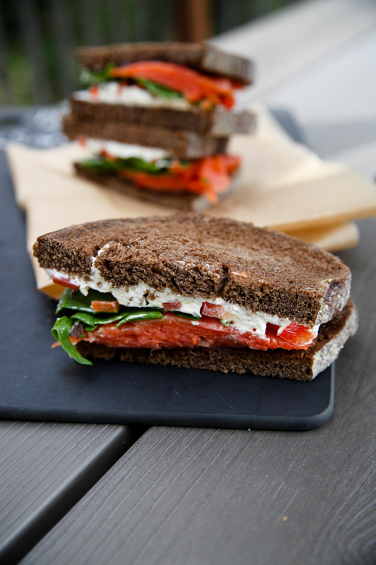 Pumpernickel Salmon Red Pepper Sandwiches