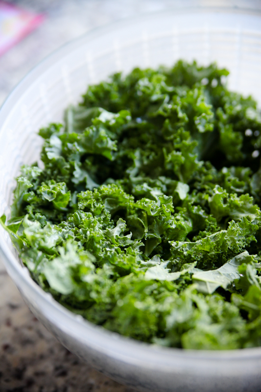 kale washed in a OXO salad spinner