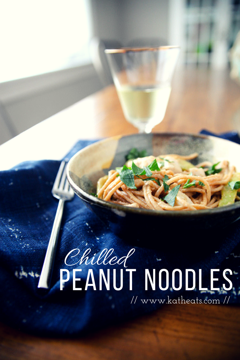 Chilled Peanut Noodles with Chicken #eatrealfood // www.katheats.com