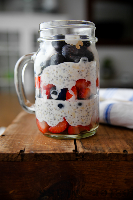 patriotic overnight oats with layers of red white and blue