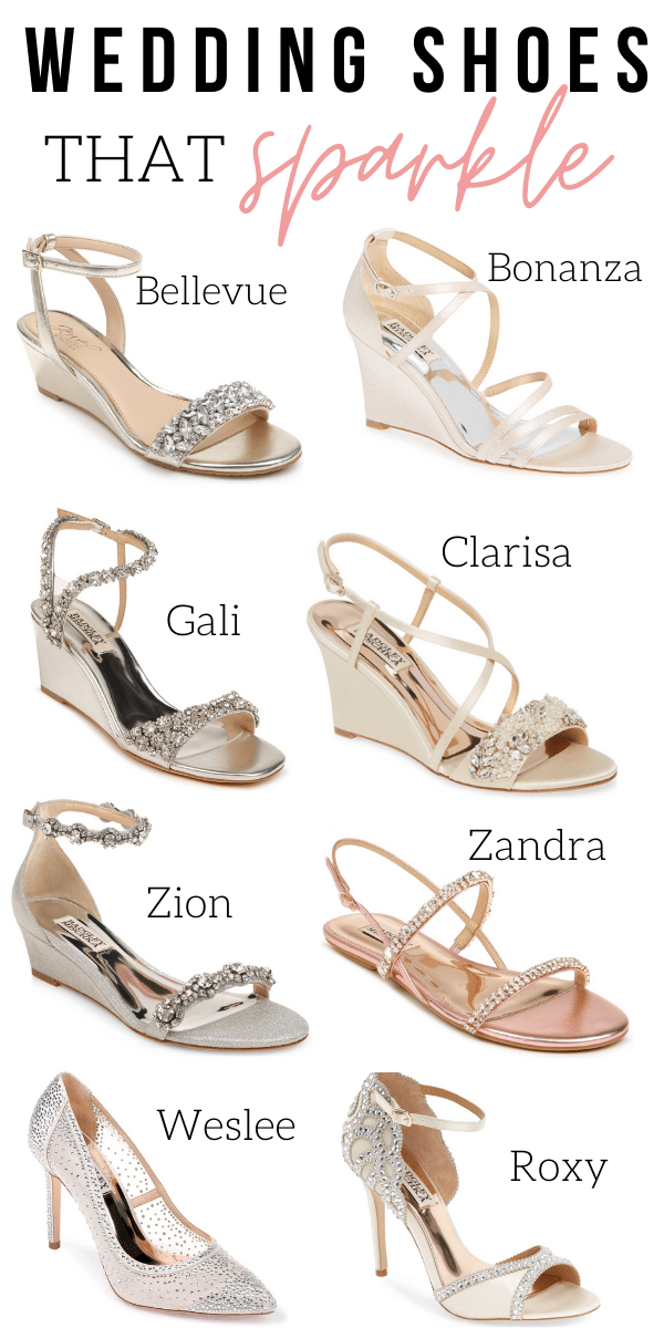 collage of sparkly wedding shoes
