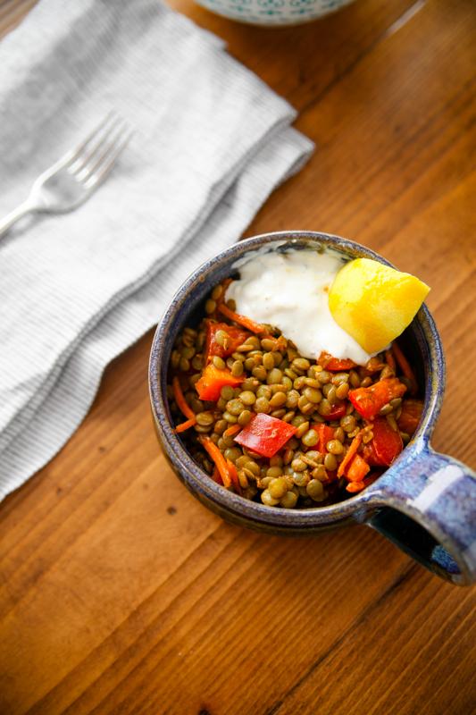 Moroccan Lentil Salad with Lemon Yogurt Sauce