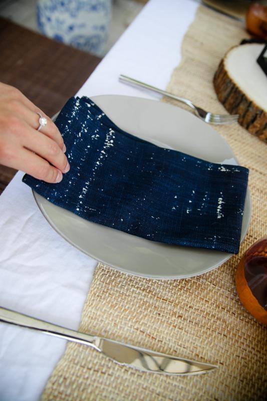 blue napkins on a plate