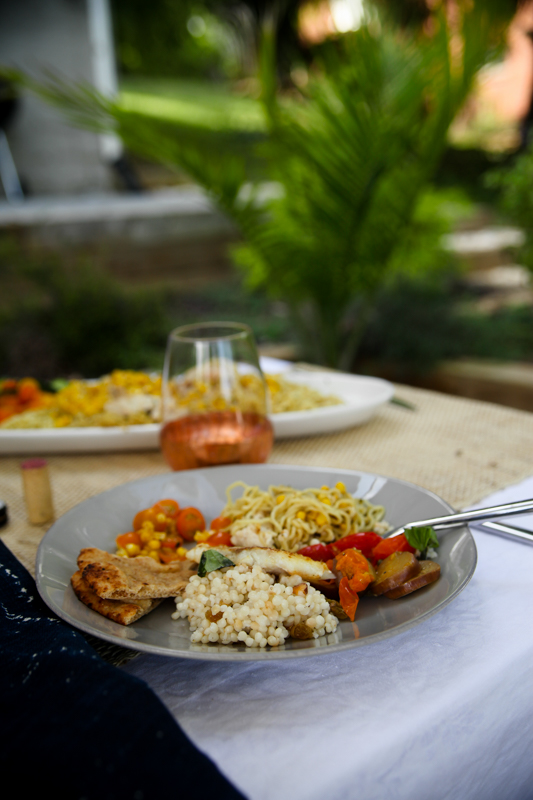 Blue Apron meal with palm fronds
