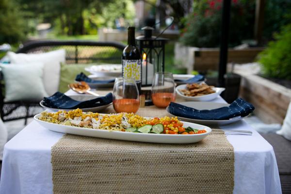 Blue Apron dinner in the garden