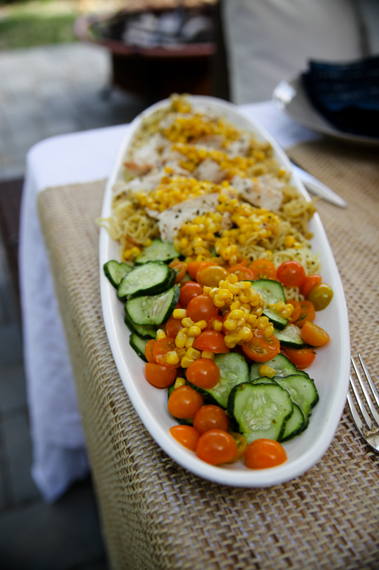 Blue Apron corn and cucumber salad