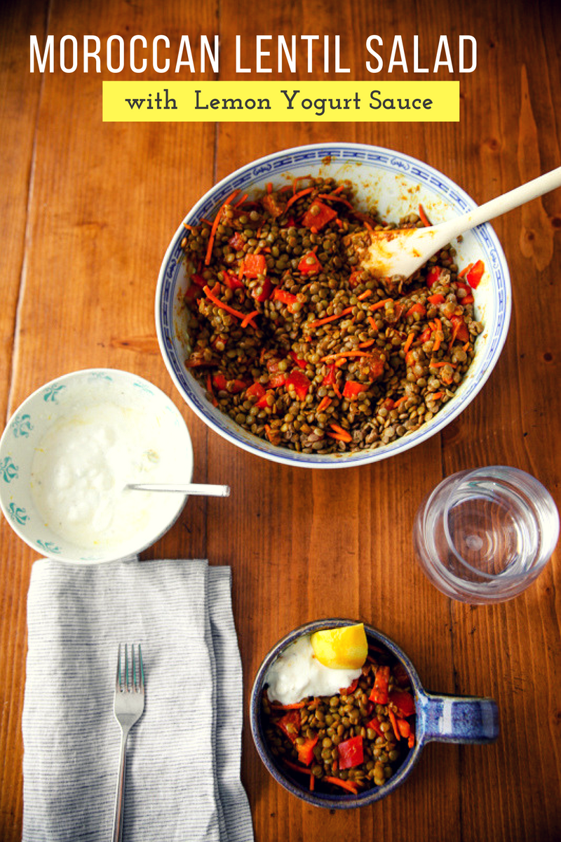 Moroccan Lentil Salad With Lemon Yogurt Sauce Kath Eats