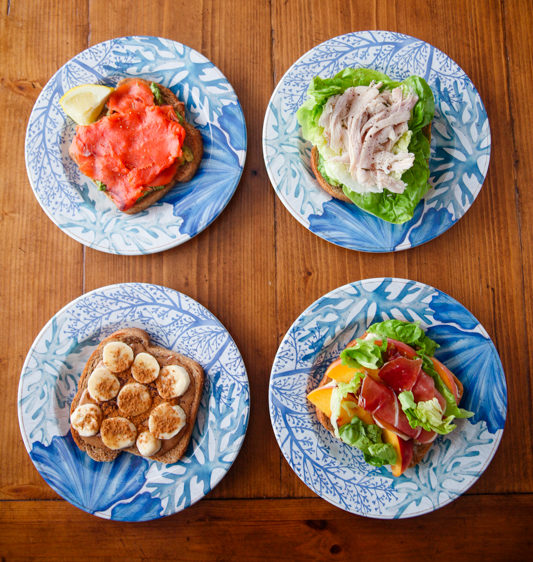 Four Yummy Open-Faced Sandwiches