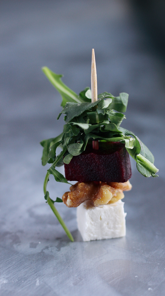 Mini Beet Salads on a Toothpick with arugula and feta cheese