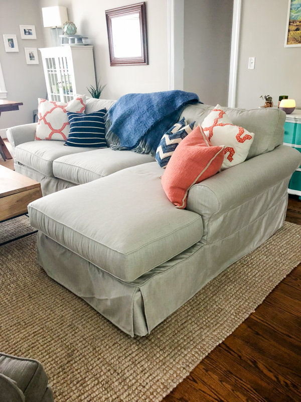 From Bleach To Boss Tweed: Our New Pottery Barn Couch