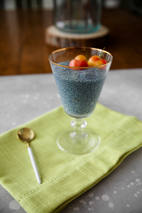 Blue Majik chia pudding Made from spirulina