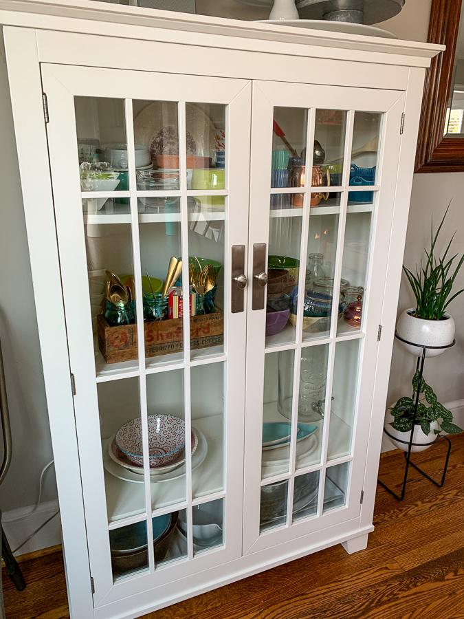 DIY Burlap Cabinet Curtains