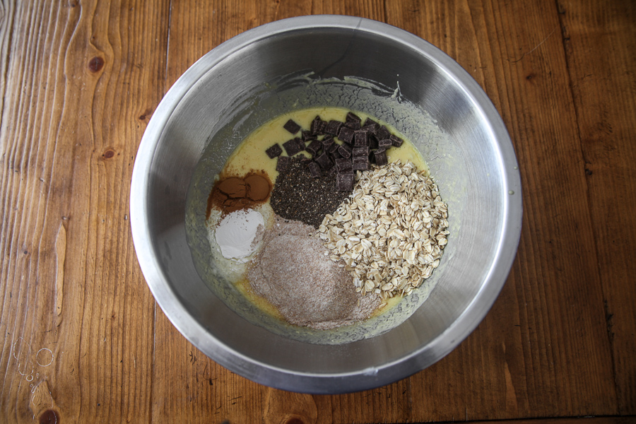 instant pot muffins ingredients in mixing bowl