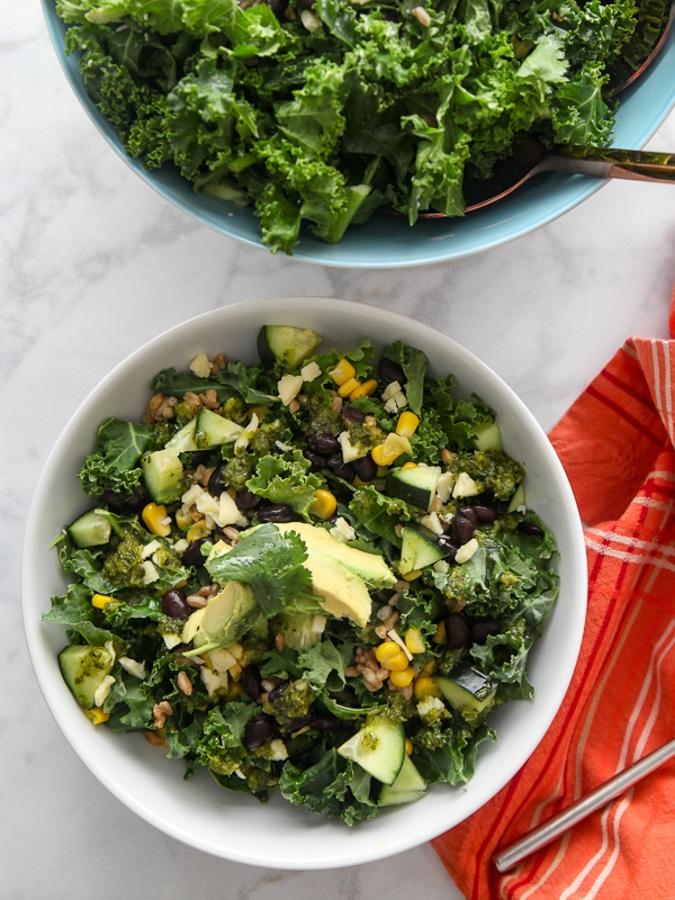 prep day kale salad in a white bowl