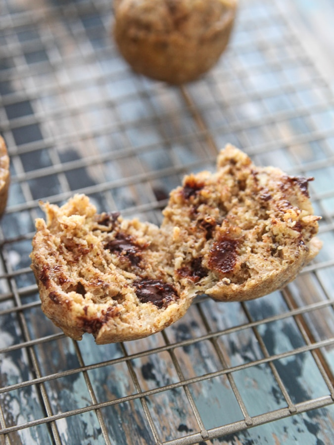 banana chocolate instant pot muffin on a cooling rack