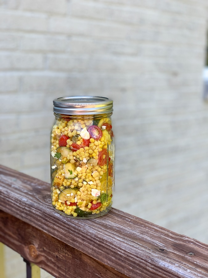 Couscous salad in a mason jar