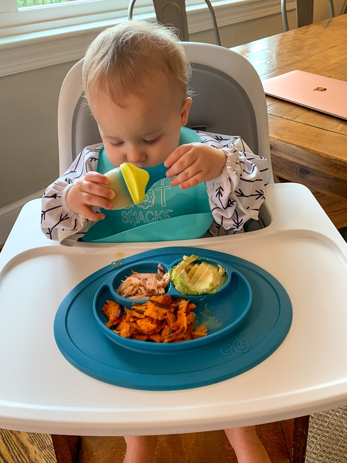 baby eats real food with silicone tray