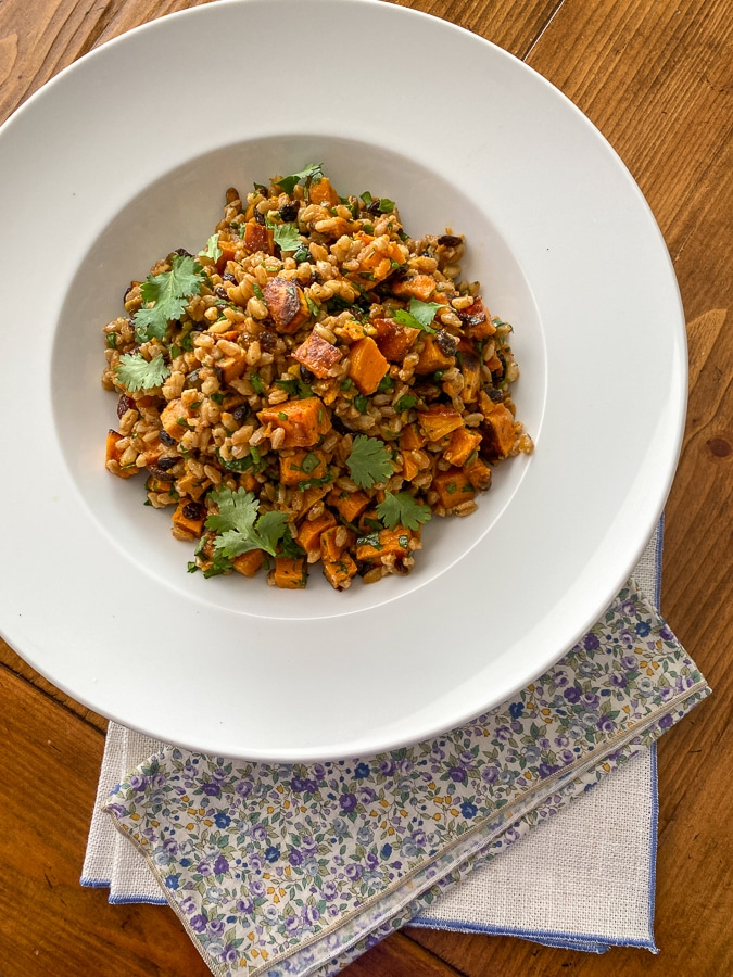 citrus curry farro salad recipe